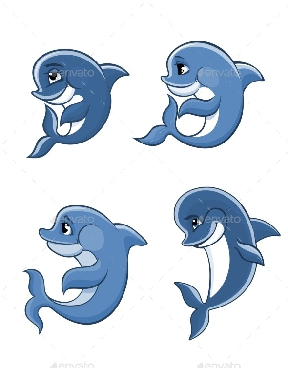 Cartoon Dolphin Calves Set - Animals Characters