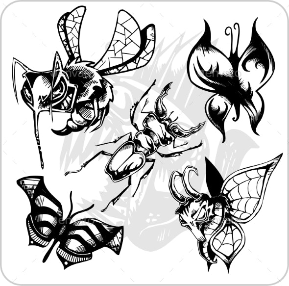 Aggressive Insects Set - Animals Characters