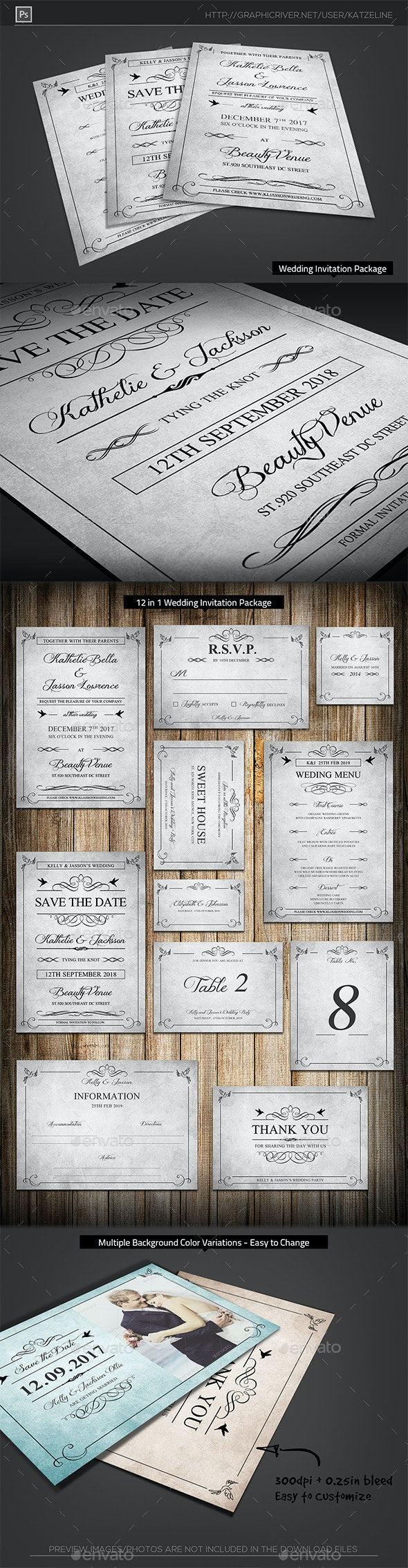 Classic Vintage - Wedding Invitation Package