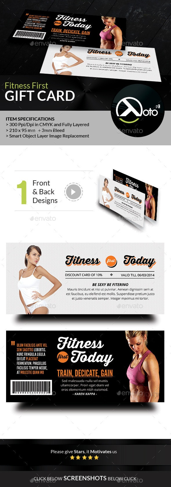 Fitness First Today Health Promotional Gift Voucher - Cards & Invites Print Templates