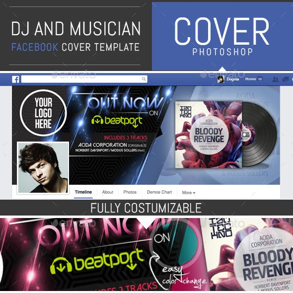 Dj and Musician Release Facebook Cover Template