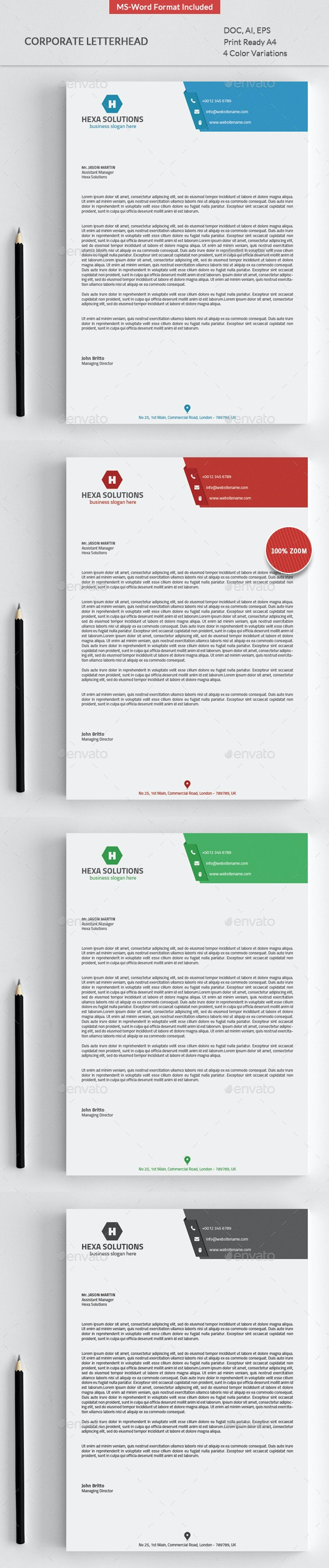 Letterhead with Ms-Word - Stationery Print Templates