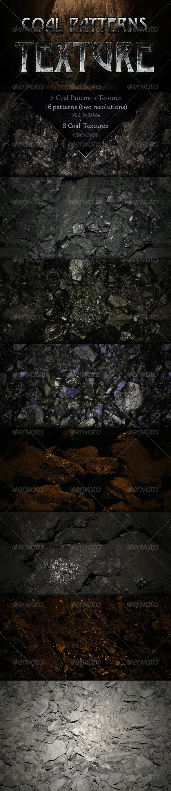 8 Coal Patterns + Textures - Stone Textures