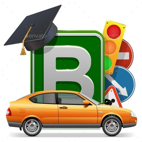 Driving School Concept with Car