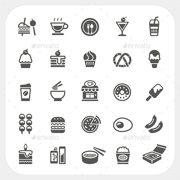Food and Beverage Icons Set  - Food Objects