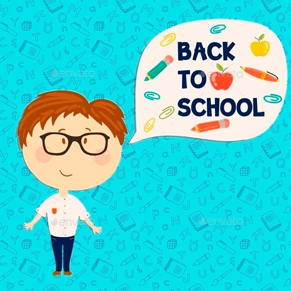 Young Boy Back to School - People Characters