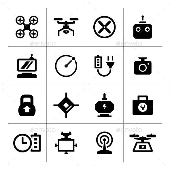 Set Icons of Quadrocopter, Multicopter and Drone