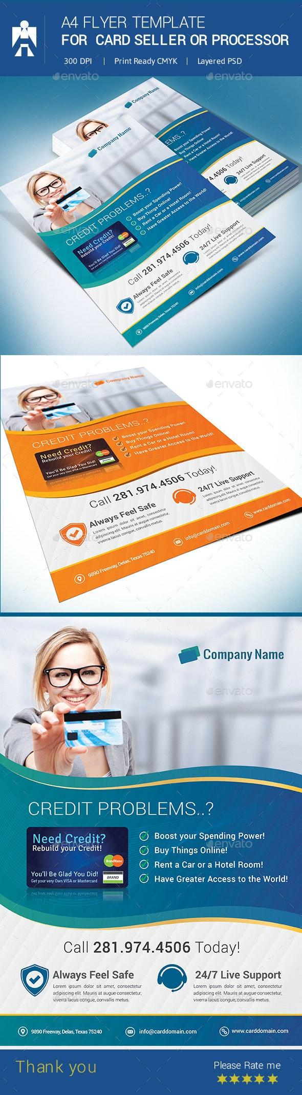 A4 Flyer for Debit Card or Credit Card Seller - Commerce Flyers