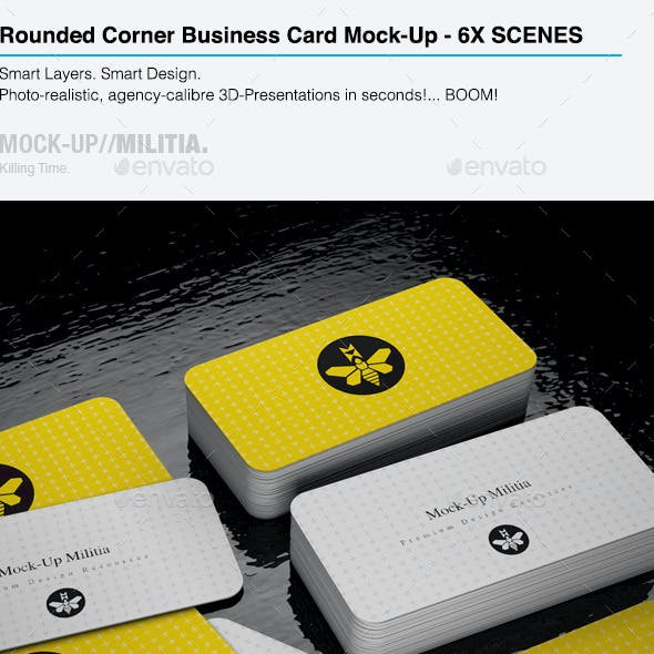 Rounded Corners Business Card Mock-Up | Stack V2