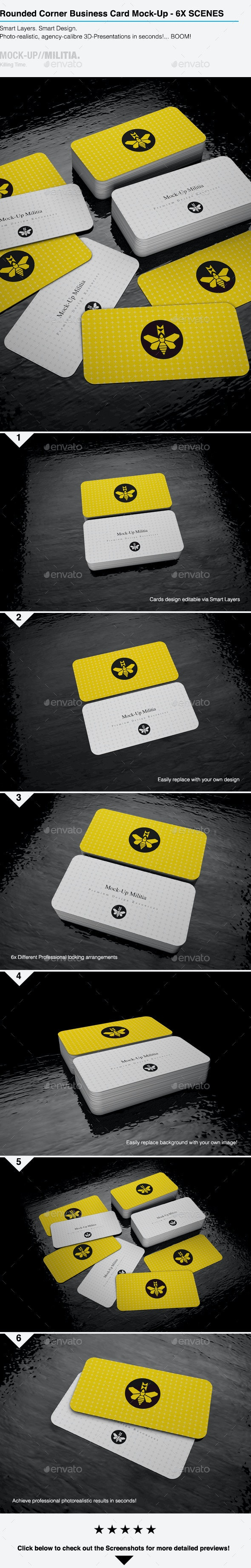Rounded Corners Business Card Mock-Up | Stack V2  - Business Cards Print