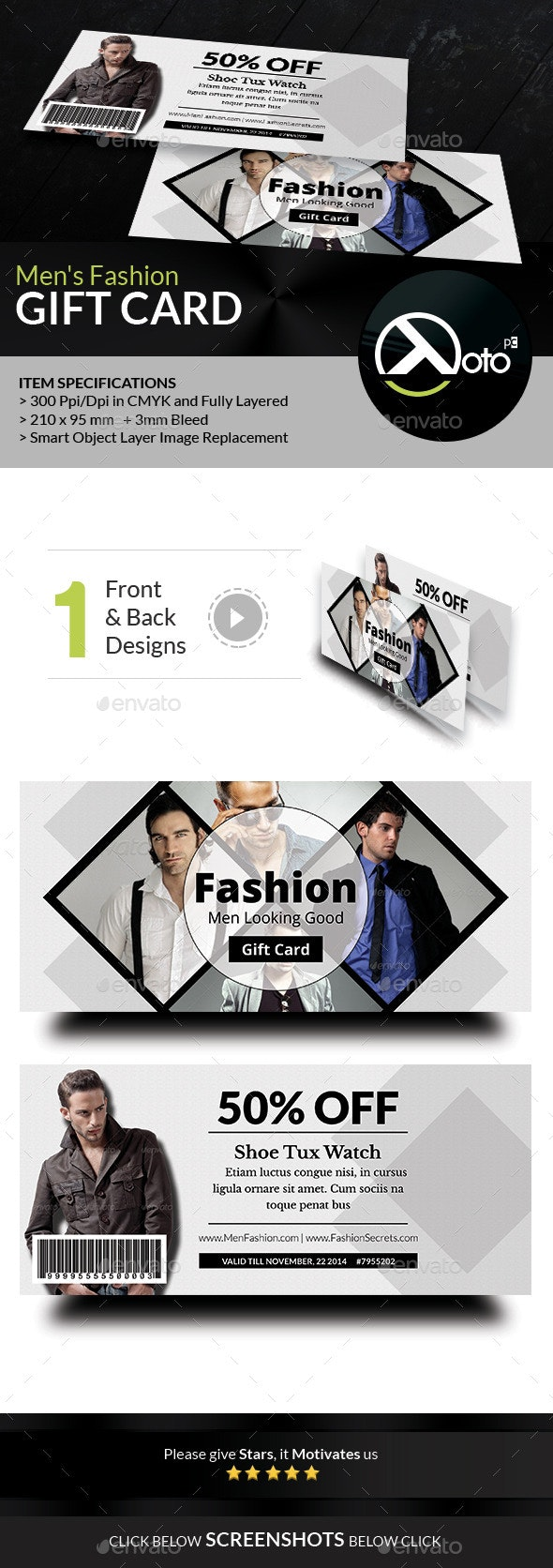 Men Fashion Style Clothing Gift Vouchers - Cards & Invites Print Templates