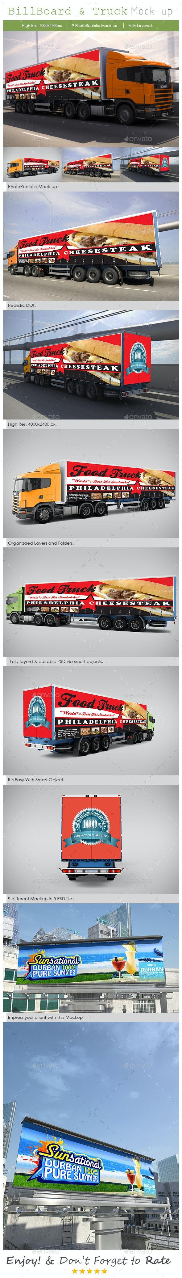 Billboard and Truck Mock-Up - Print Product Mock-Ups