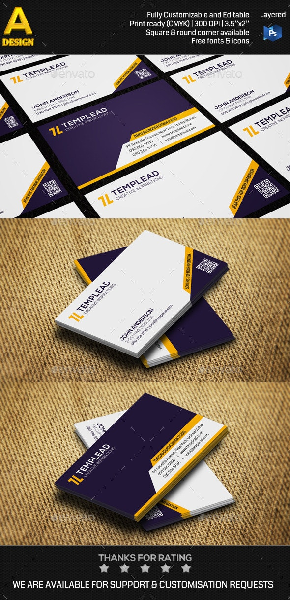 Modern Corporate Business Card AN0416 - Corporate Business Cards