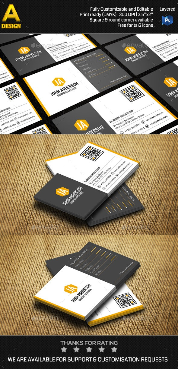 Modern Personal Business Card AN0418 - Corporate Business Cards