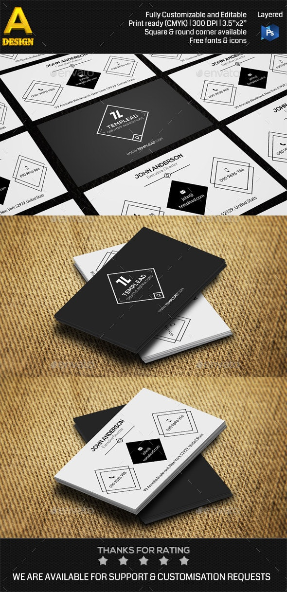 Retro Corporate Business Card AN0421 - Retro/Vintage Business Cards