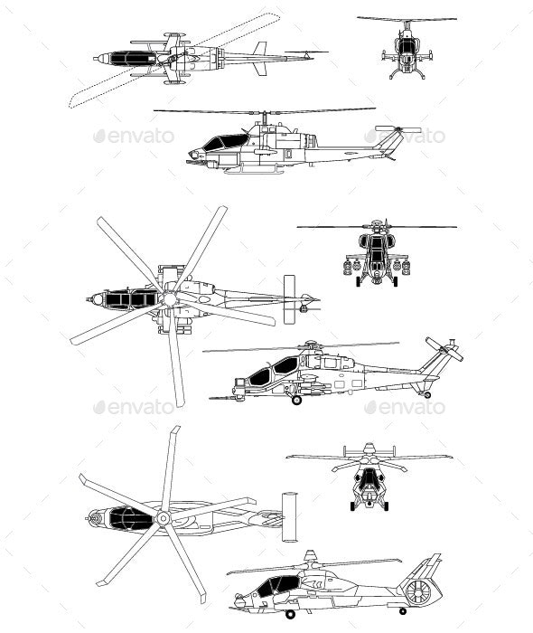 Attack Helicopters - Man-made Objects Objects