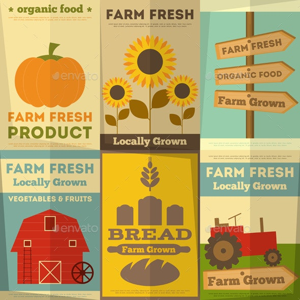 Set of Posters for Organic Farm Food - Organic Objects Objects
