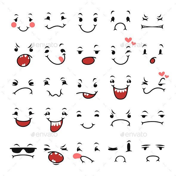 Doodle Facial Expressions Set For Humor Design - Characters Icons