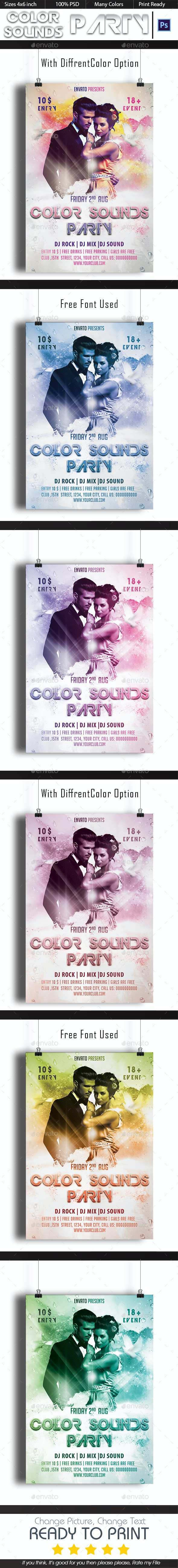 Color Sounds Party Flyer Vol-1 - Clubs & Parties Events