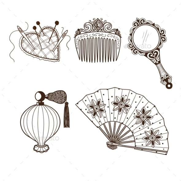Lady's Vintage Beauty Accessories Collection - Man-made Objects Objects