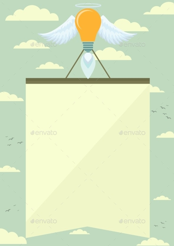 Lamp Rocket with Wings Lifting the Poster - Decorative Symbols Decorative
