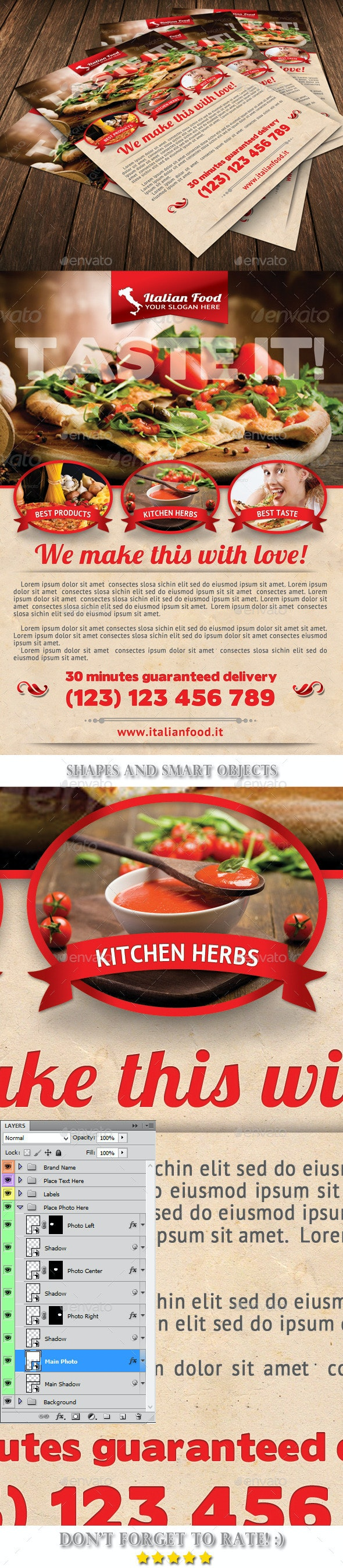 Italian Food Flyer Template 42 - Restaurant Flyers