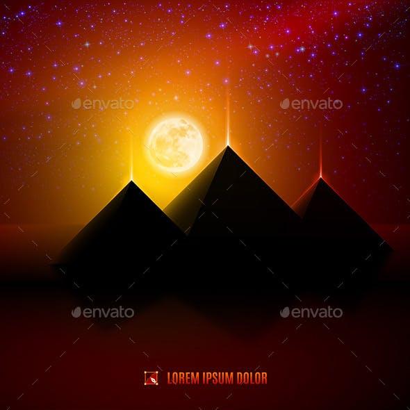 Red and Orange Night Desert Landscape