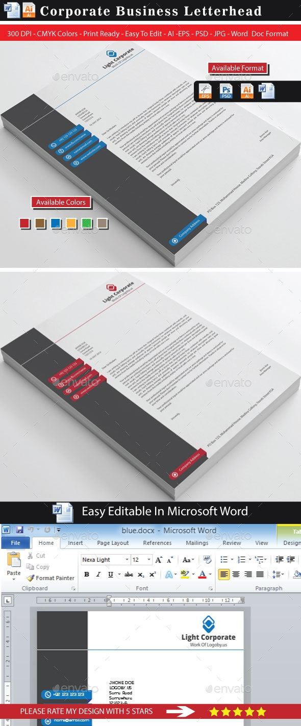 Modern Corporate Clean Letterhead - Stationery Print Templates