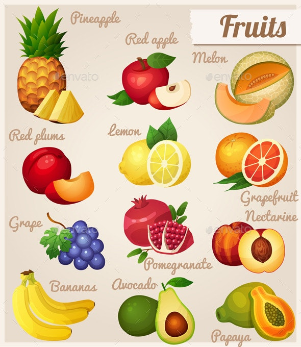 Set of Food Icons. Fruits.   - Food Objects
