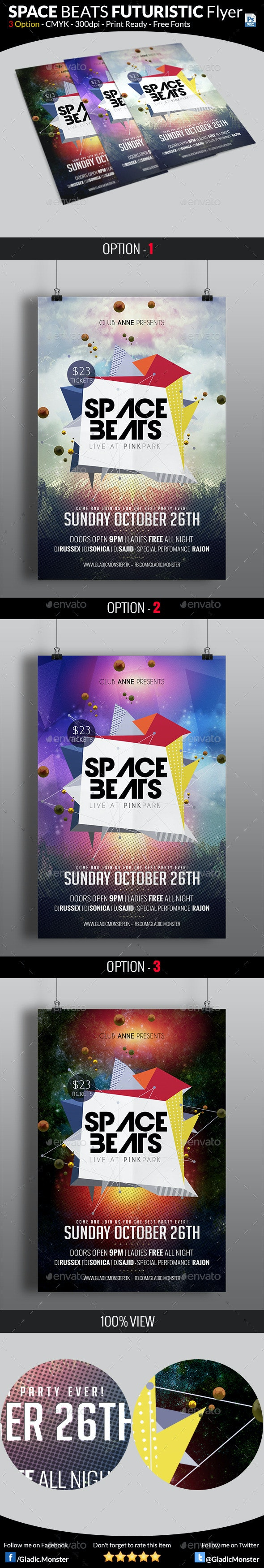 Space Beats Futuristic Flyer - Events Flyers