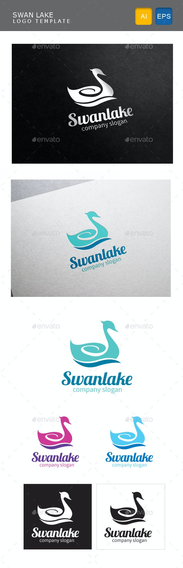 Swan Lake - Animals Logo Templates