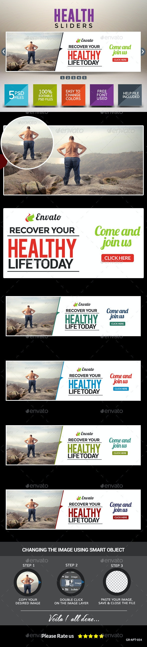 Health & Fitness Sliders - Sliders & Features Web Elements