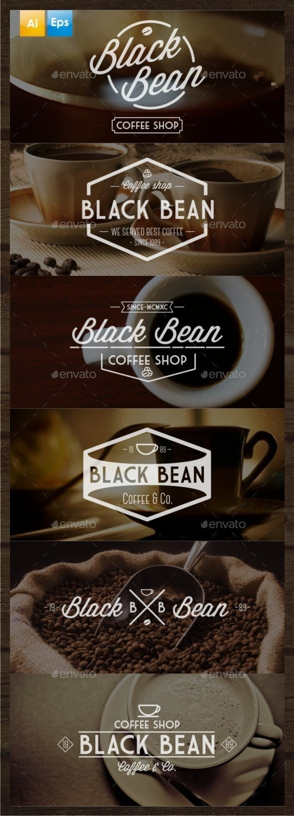 6 Vintage Coffee Logo - Badges & Stickers Web Elements