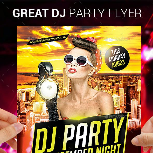 Great Dj Party Flyer Template Psd