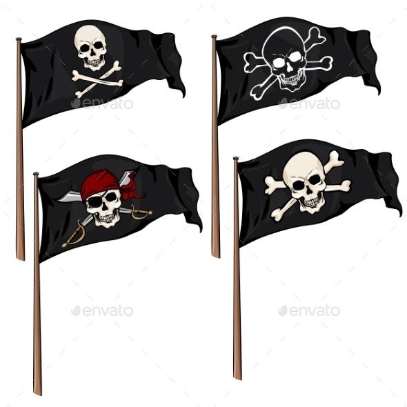 Vector Set of Cartoon Pirate Flags - Halloween Seasons/Holidays