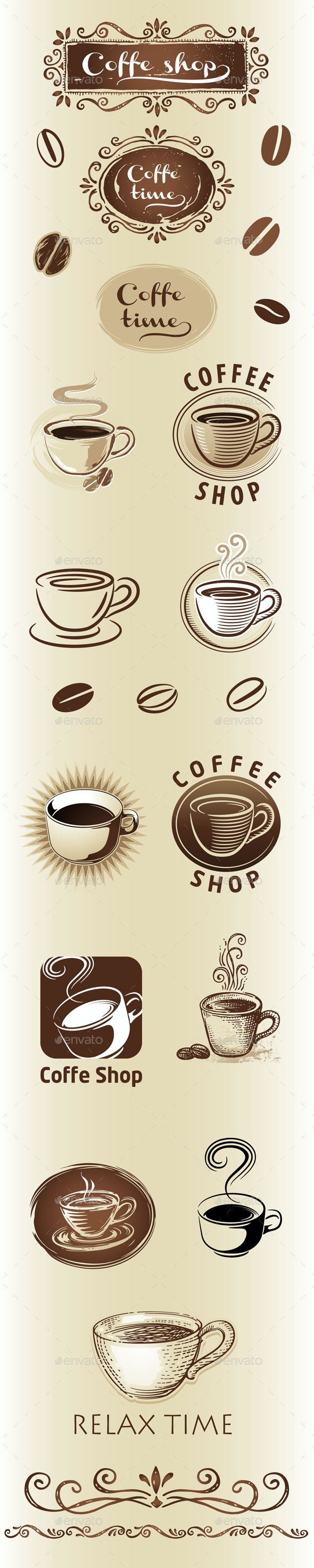 Coffee Shop Vector set - Food Objects