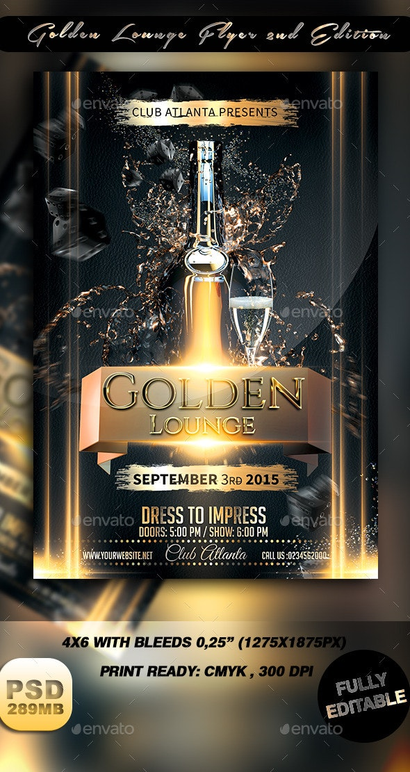 Golden Lounge Flyer 2nd Edition - Events Flyers