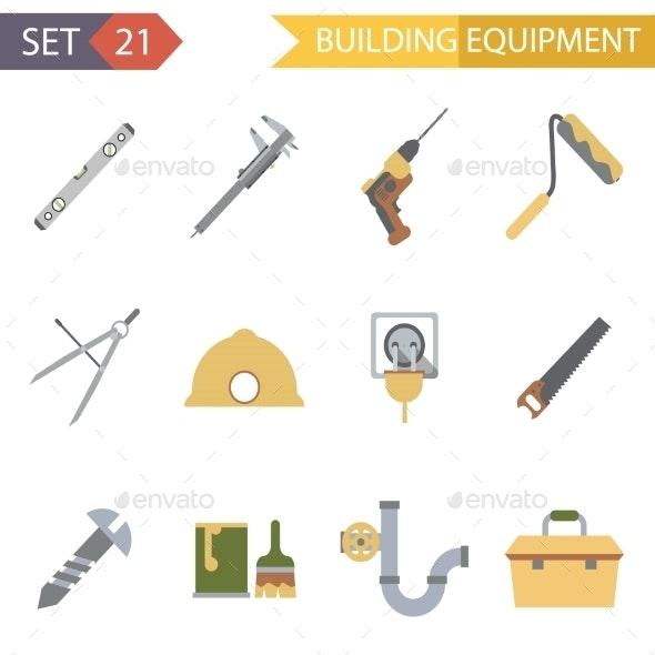 Retro Flat Building Equipment Icons - Miscellaneous Vectors