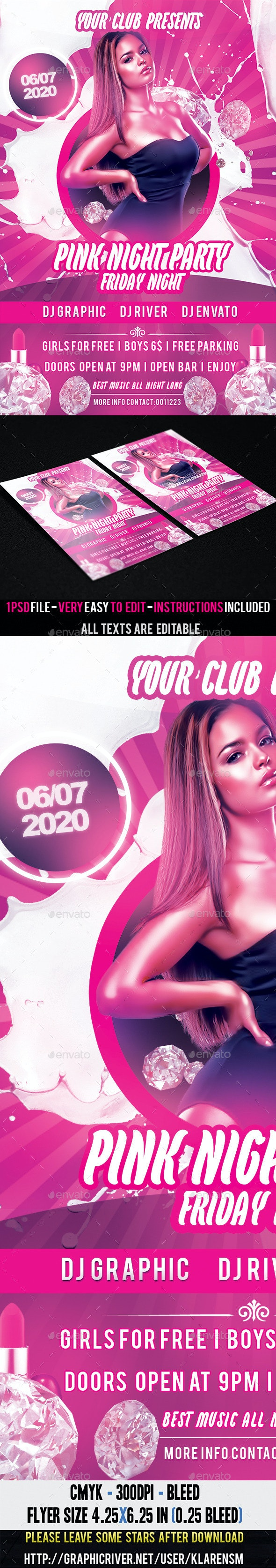 Pink Friday Night Flyer Template - Clubs & Parties Events