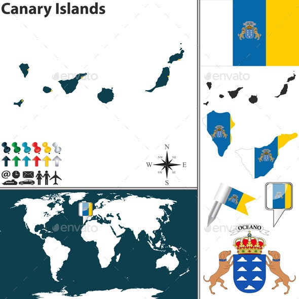Map of Canary Islands - Travel Conceptual