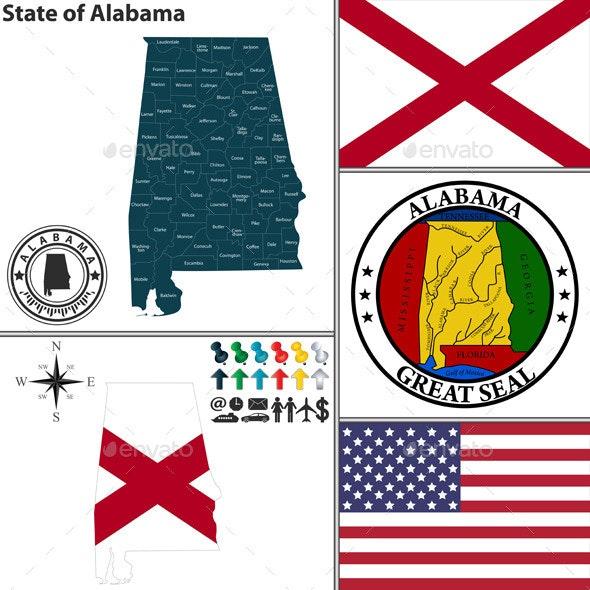 Map of state Alabama, USA - Travel Conceptual