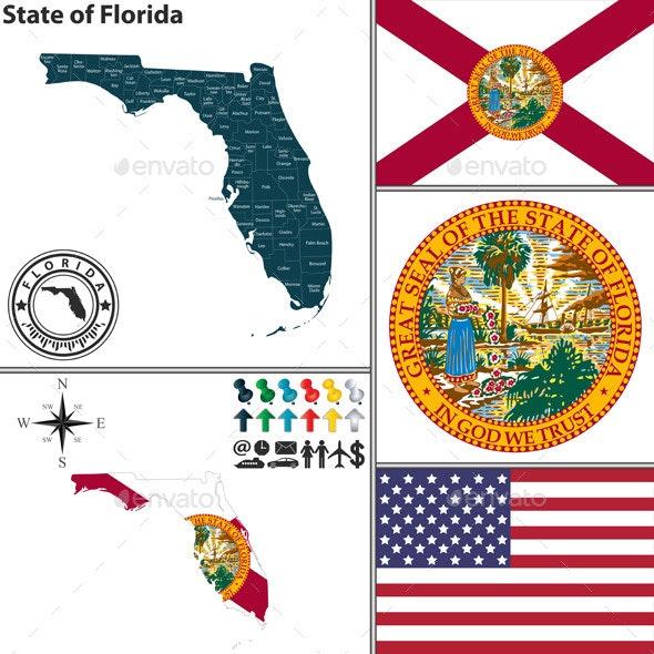 Map of state Florida, USA - Travel Conceptual