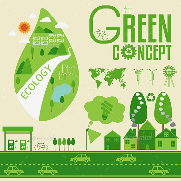 Ecology Infographic and Green Concept - Health/Medicine Conceptual