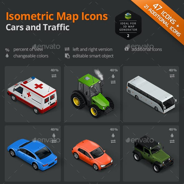 Isometric Map Icons - Cars and Traffic