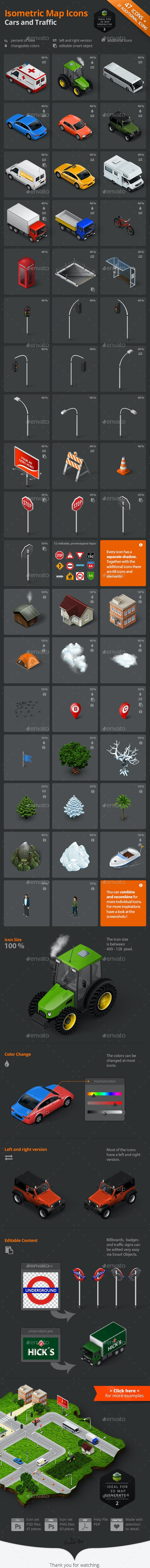 Isometric Map Icons - Cars and Traffic - Objects Icons