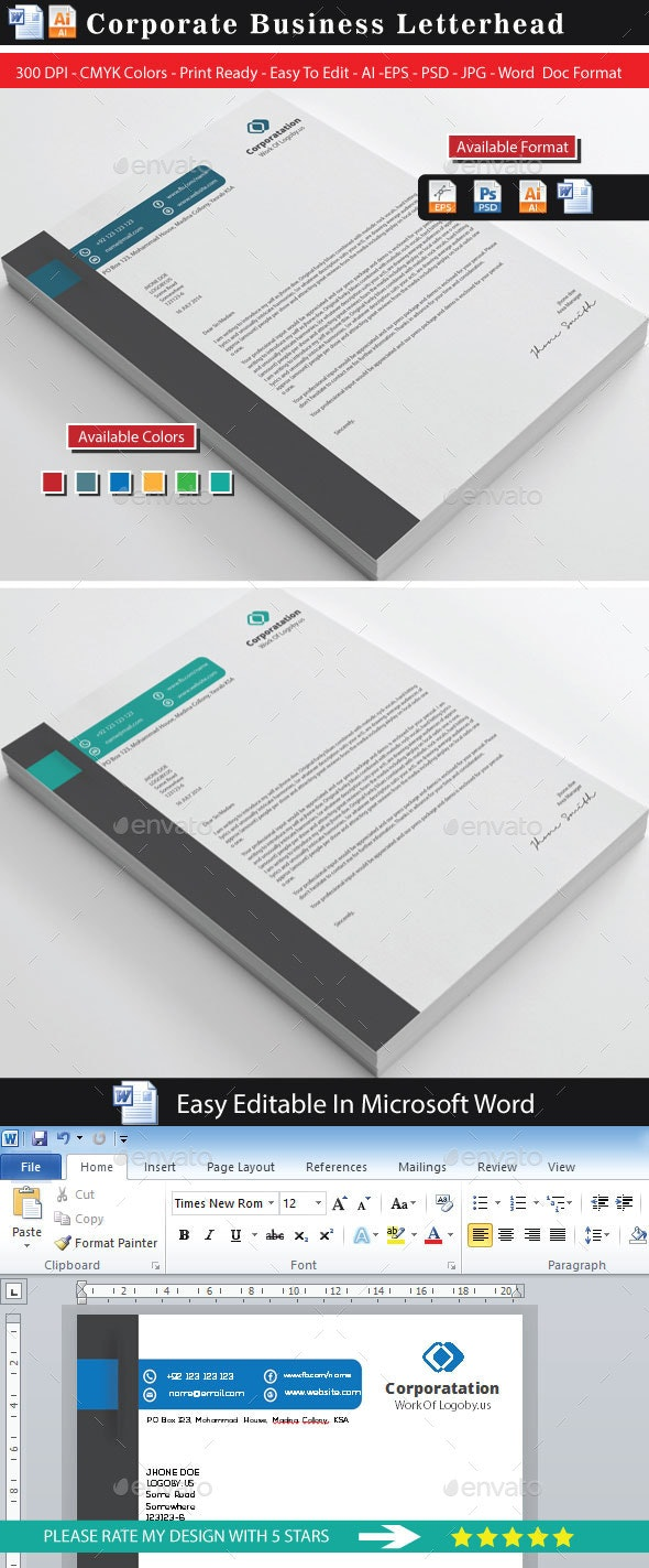 Corporate Modern Letterhead - Stationery Print Templates