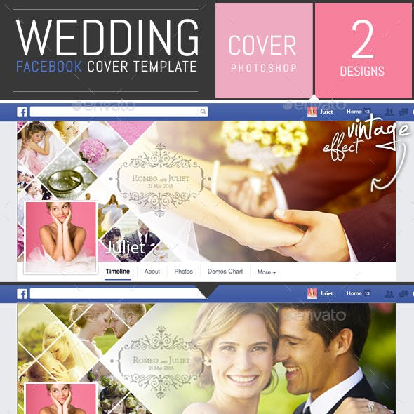 Wedding Photo Album Facebook Cover Template