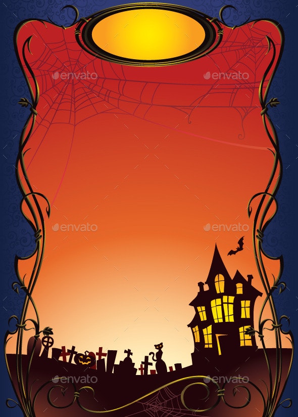 Halloween Background with Haunted House and Graveyard - Halloween Seasons/Holidays