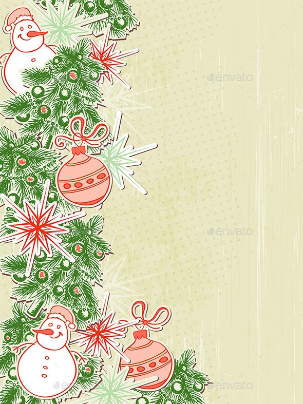 Christmas Background with Paper Decorations - Christmas Seasons/Holidays