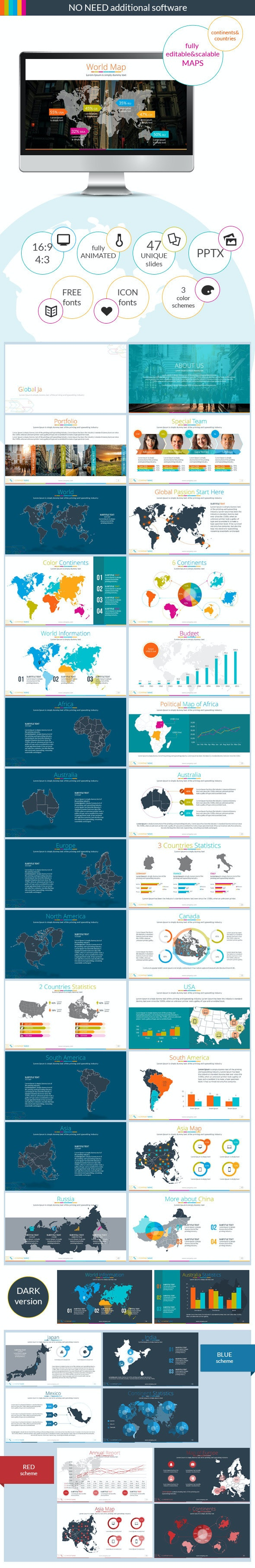 Continents&Countries PowerPoint Presentation  - Business PowerPoint Templates